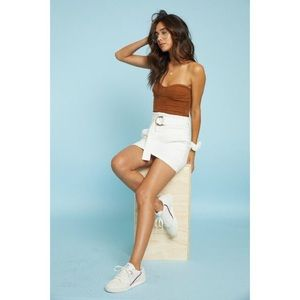 Dresses & Skirts - White High Waisted Denim Mini Skirt